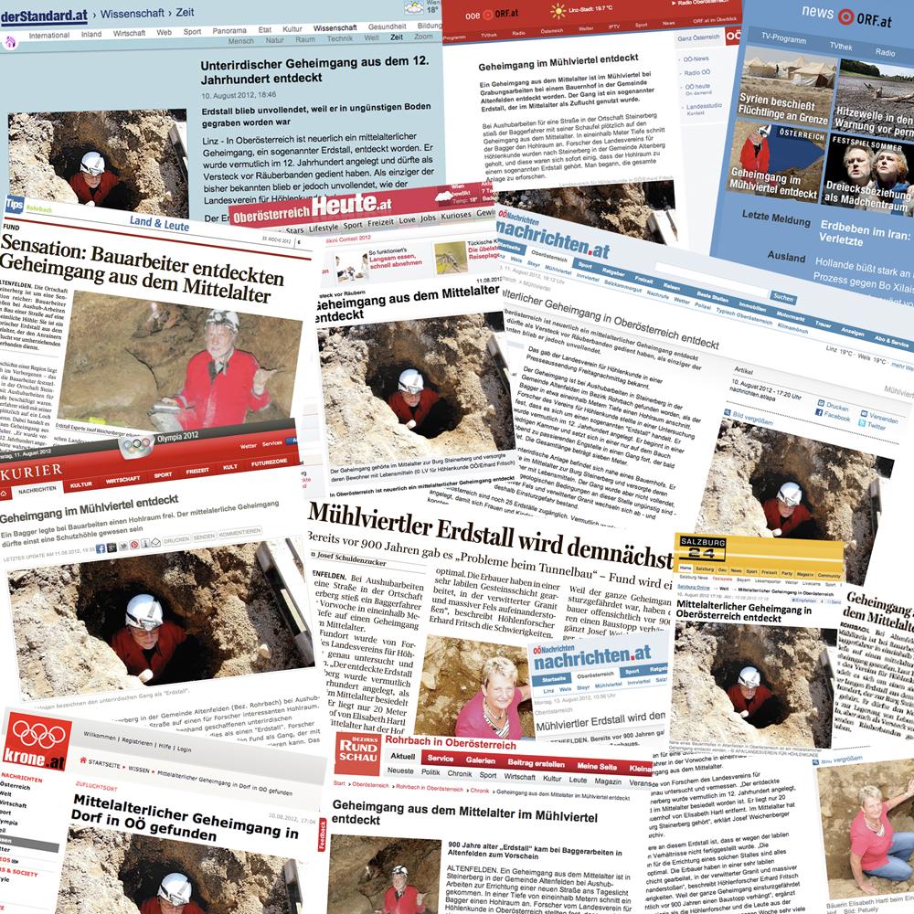 Collage zum Medienecho Erdstall Thurnbauer Steinerberg